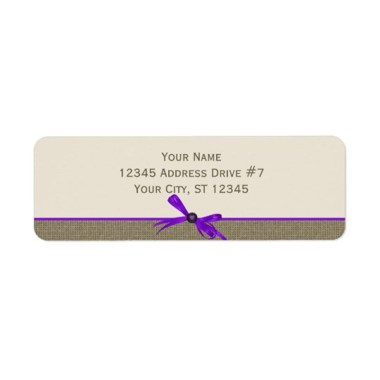 Burlap with Bow in Purple