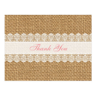 Burlap with Delicate Lace -Chic Thank You Pink Postcard