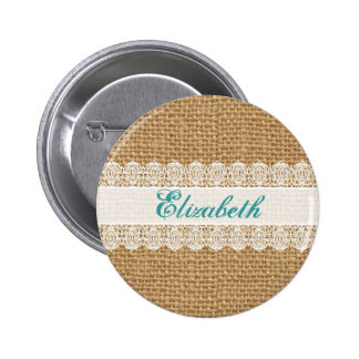 Burlap with Delicate Lace - Shabby Chic Monogram 6 Cm Round Badge