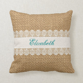 Burlap with Delicate Lace - Shabby Chic Monogram Cushion