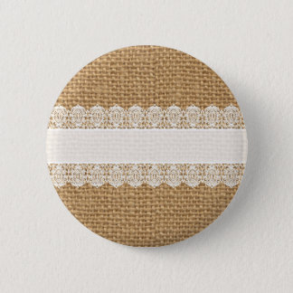 Burlap with Delicate Lace - Shabby Chic Style 6 Cm Round Badge