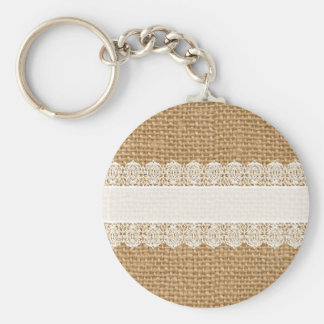 Burlap with Delicate Lace - Shabby Chic Style Basic Round Button Key Ring