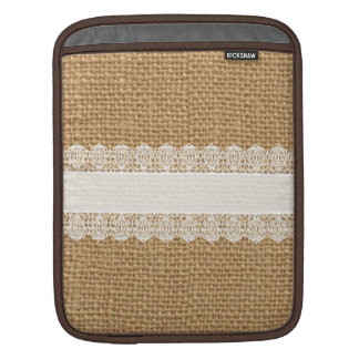 Burlap with Delicate Lace - Shabby Chic Style Sleeve For iPads