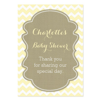 Burlap & Yellow Chevrons Baby Shower Favour Tags Pack Of Chubby Business Cards