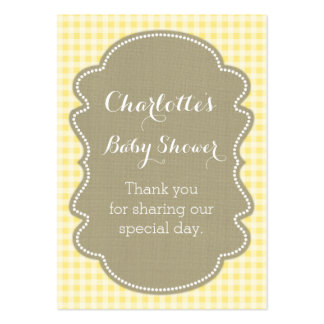 Burlap & Yellow Gingham Baby Shower Favour Tags Pack Of Chubby Business Cards