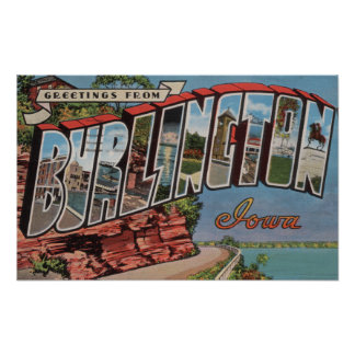 Burlington, Iowa - Large Letter Scenes Poster