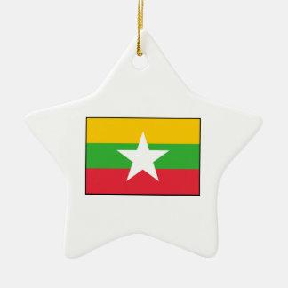 Burma Burmese  Myanmar Flag Christmas Tree Ornament