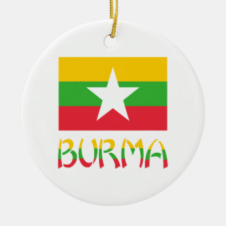 Burma Flag & Word Double-Sided Ceramic Round Christmas Ornament