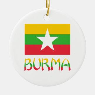 Burma Flag & Word Round Ceramic Decoration