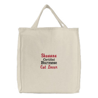 Burmese Cat Breed Custom Cat Lover's Embroidered Tote Bags