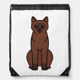 Burmese Cat Cartoon Drawstring Bag