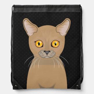 Burmese Cat Cartoon Paws Cinch Bag