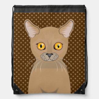 Burmese Cat Cartoon Paws Cinch Bags