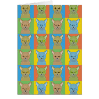 Burmese Cat Cartoon Pop-Art Greeting Card