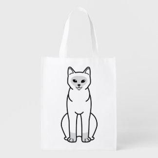 Burmese Cat Cartoon Reusable Grocery Bag