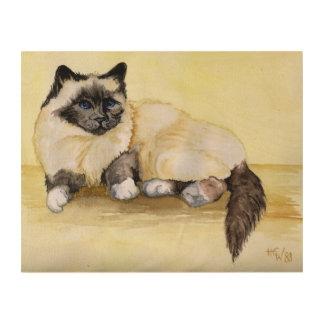 Burmese Cat Painting Wood Print