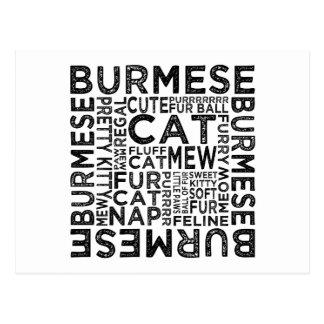 Burmese Cat Typography Postcards