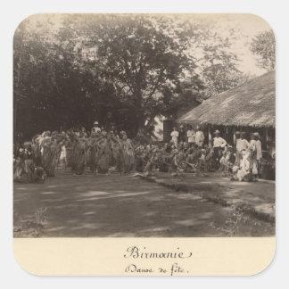 Burmese dancers celebrating, Burma Square Sticker