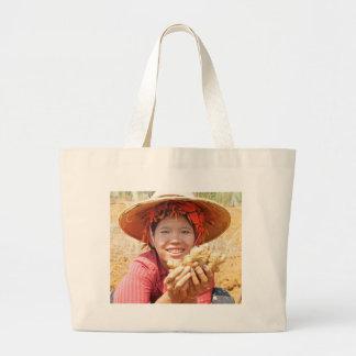 Burmese Lady Picking Ginger Jumbo Tote Bag