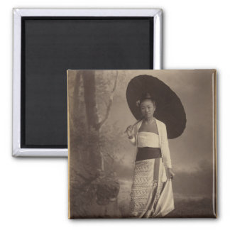 Burmese lady square magnet