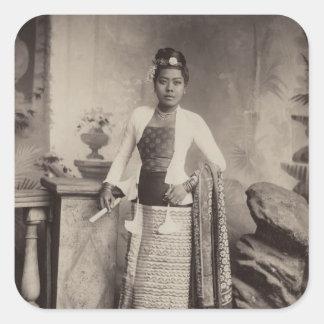 Burmese lady square sticker