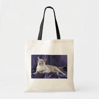 Burmese, lilac tote bags