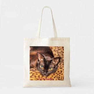 Burmese on Leopard Cat Bed Budget Tote Bag