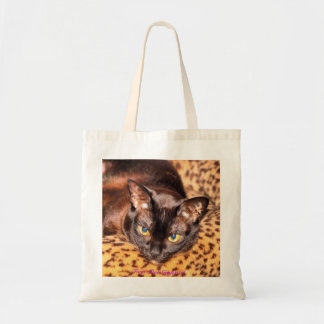 Burmese on Leopard Cat Bed Tote Bag