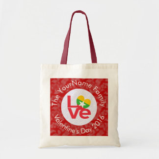 Burmese or Myanmar LOVE White on Red Budget Tote Bag