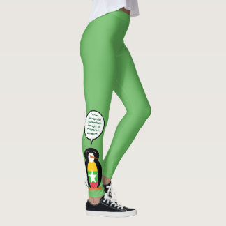 Burmese or Myanmar Talking Penguin Flag Leggings