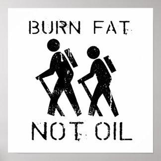 BURN FAT. NOT OIL. (HIKING) POSTER