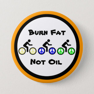 burn fat with biking 7.5 cm round badge