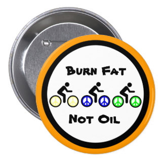 burn fat with biking 7.5 cm round badge