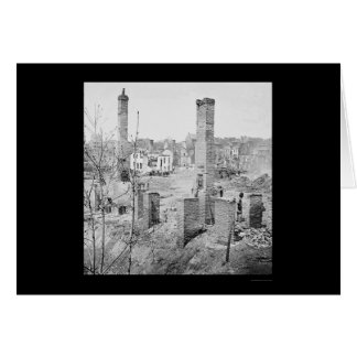 Burned Ruins of Chimneys in Richmond 1865 Card