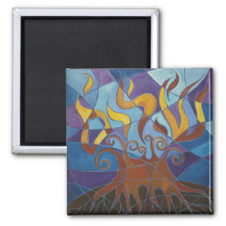 Burning Bush Mosaic II Square Magnet