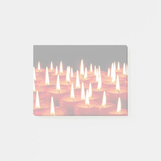 Burning candles post-it notes