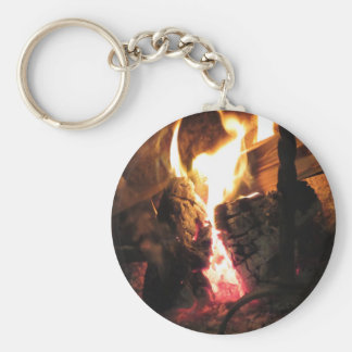 Burning fireplace with fire flames basic round button key ring