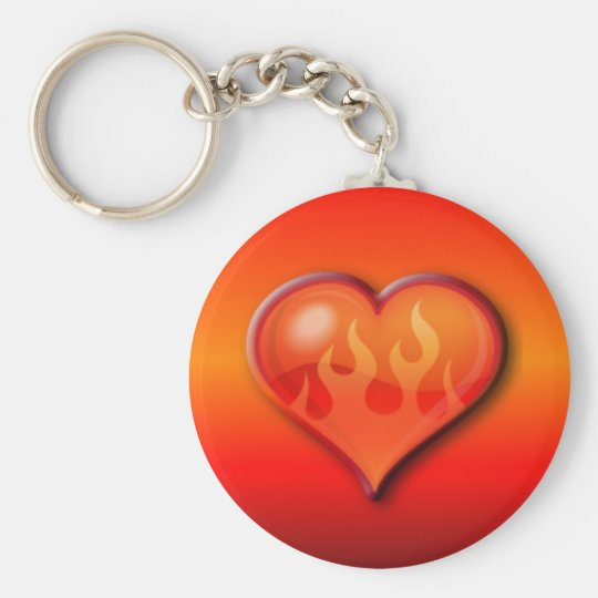 Burning Flaming Heart Basic Round Button Key Ring