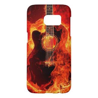 Burning Guitar Flames Fire Music Orange Black