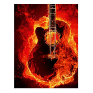 Burning Guitar, Orange Flames Music Rock Band Postcard