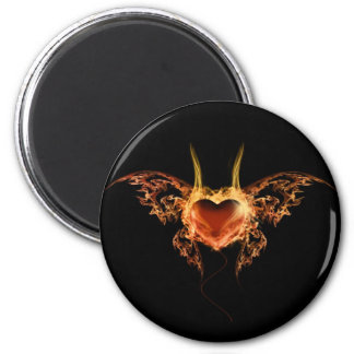 Burning Heart 6 Cm Round Magnet