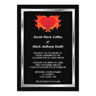 Burning heart with chrome border biker wedding 13 cm x 18 cm invitation card