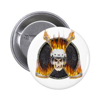 Burning Hockey Sticks 6 Cm Round Badge