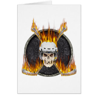 Burning Hockey Sticks Greeting Card