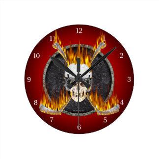 Burning Hockey Sticks Round Clock