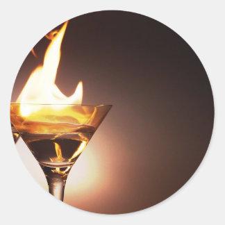 burning martini round sticker