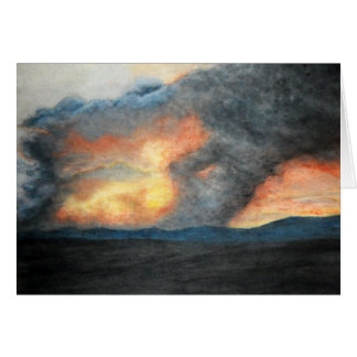 burning mountains (watercolor) card