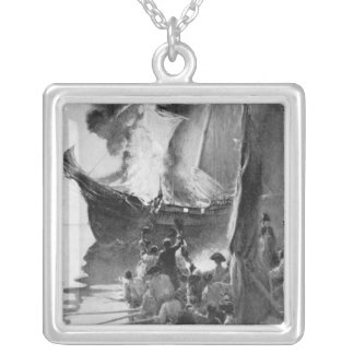 Burning of the Gaspee Silver Plated Necklace