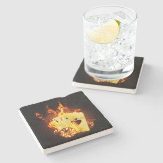 Burning Poker Cards Stone Coaster