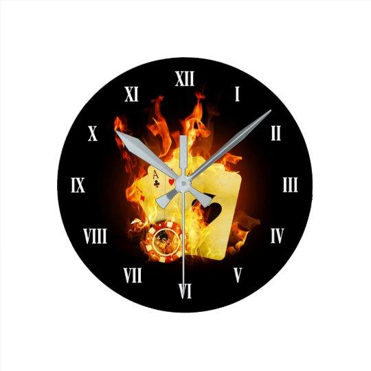 Burning Poker Cards Wall Clock